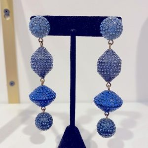 Pave style blue crystal drop earrings